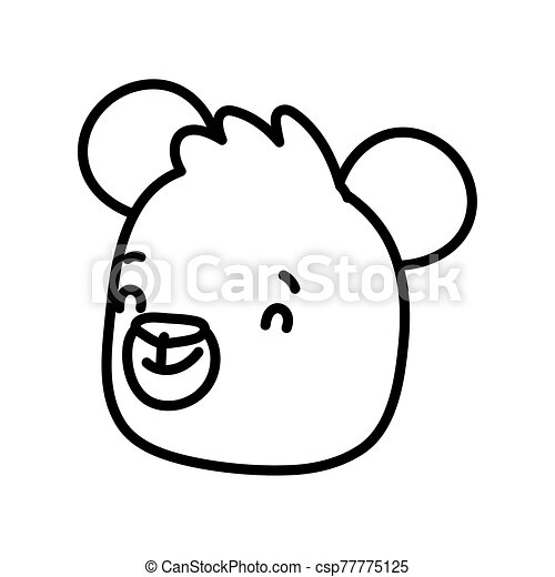 cute brown bear face cartoon character on white background thick line - csp77775125