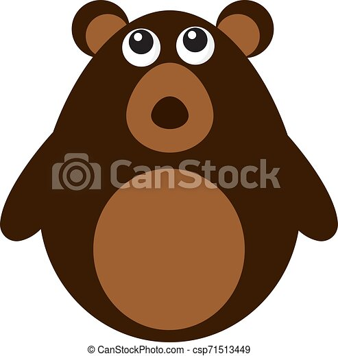 Cute brown bear, illustration, vector on white background. - csp71513449