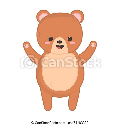 cute brown bear on white background - csp74183330