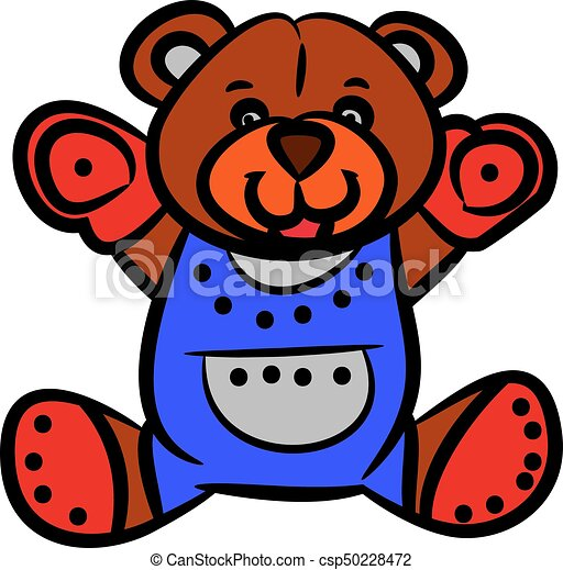 Cute brown teddy bear, cartoon on white background. - csp50228472