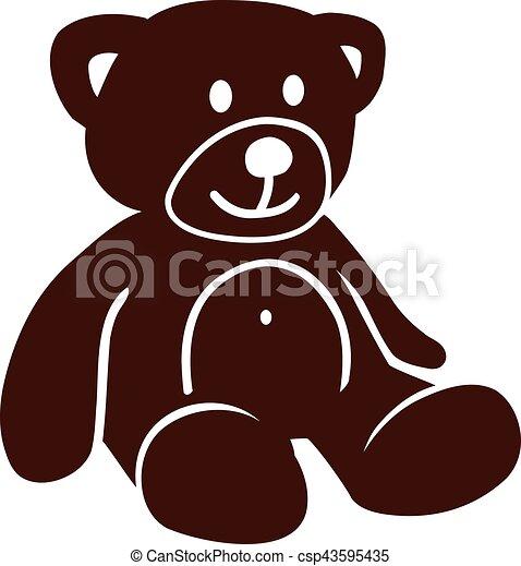 Cute brown teddy bear - csp43595435