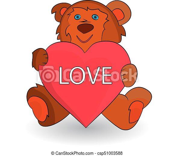 Cute brown teddy bear, heart in paws (love), cartoon on white background. - csp51003588
