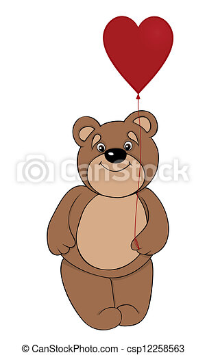 cute brown teddy bear holding a balloon in the form of red heart - csp12258563