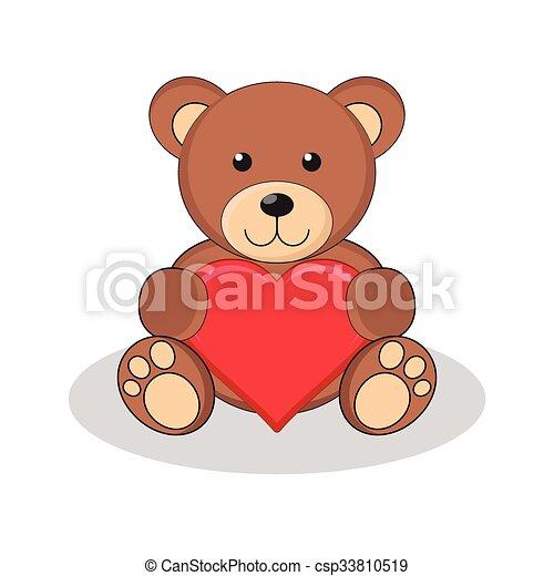 Cute brown teddy bear holding red heart. - csp33810519