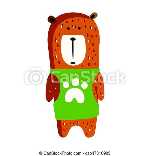 Cute brown teddy bear in green vest standing. - csp47316903