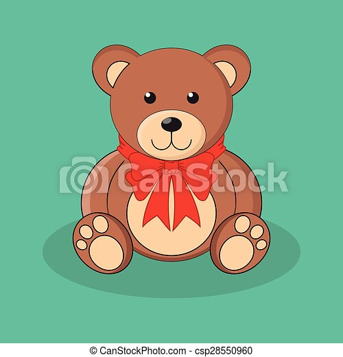 Cute brown teddy bear toy with red bow. - csp28550960
