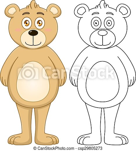 Cute Brown Teddy Bear With Lineart - csp29805273