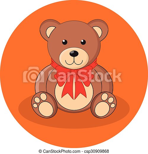 Cute brown teddy bear with red bow. Flat design. - csp30909868