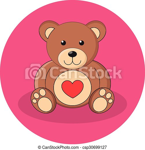 Cute brown teddy bear with red heart. Flat design. - csp30699127