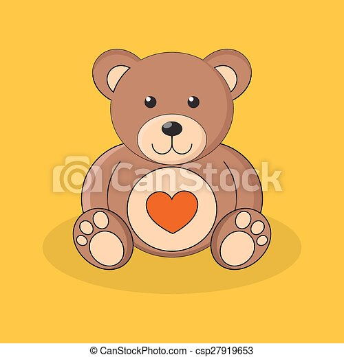 Cute brown teddy bear with red heart on yellow background. - csp27919653