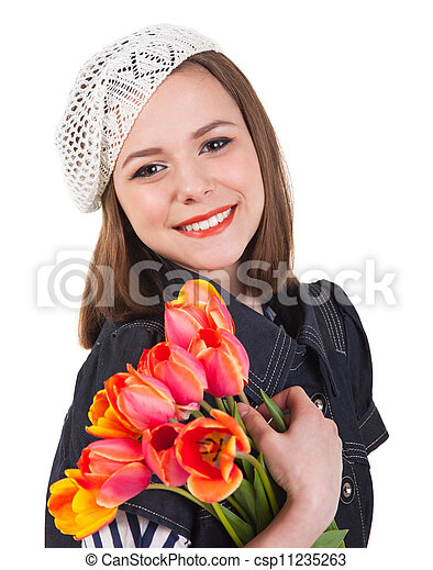 Cute brunette girl with tulip flowers - csp11235263