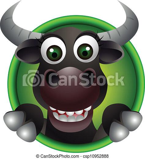 cute bull head cartoon - csp10952888