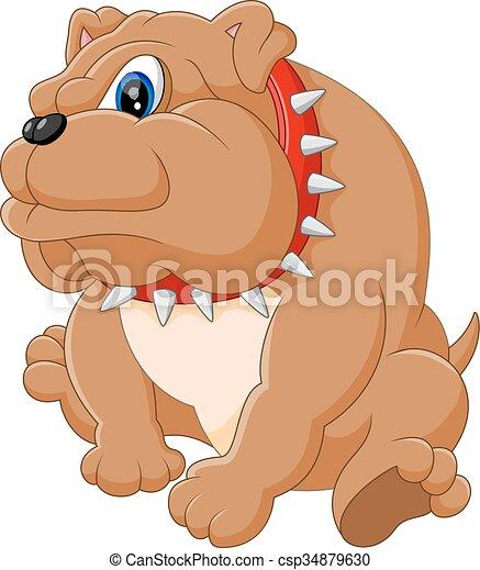 cute  bulldog cartoon - csp34879630