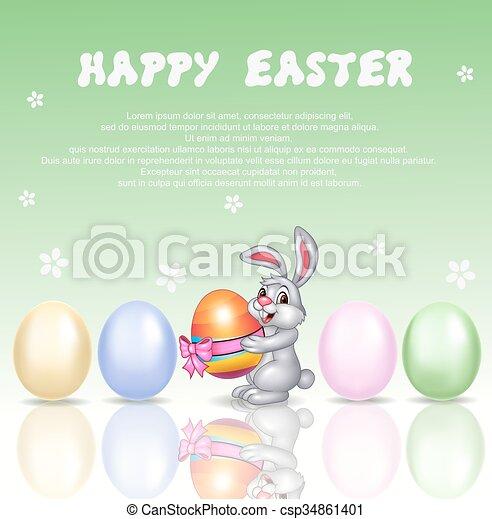 Cute bunny cartoon with happy  - csp34861401
