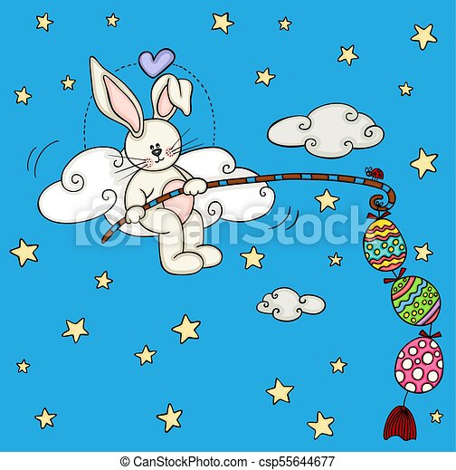 Cute bunny fishing a easter eggs - csp55644677