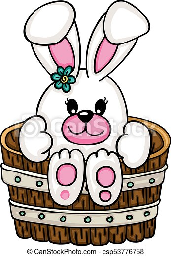 scalable vectorial representing a cute bunny inside a wooden rh canstockphoto com cute bunny clipart cute bunny clipart images