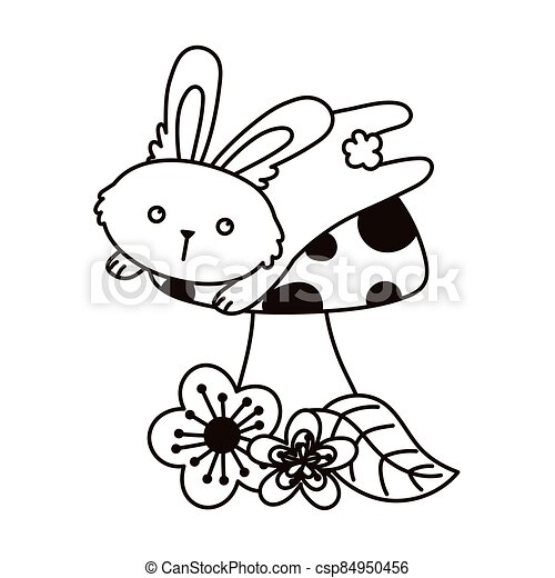cute bunny jumping mushroom and flowers autumn season isolated icon line style - csp84950456