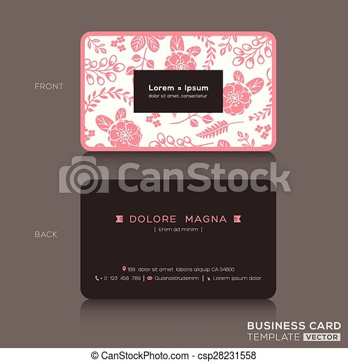 Cute Business Card Template With Pink Floral Pattern Clipart - Cute business cards templates free