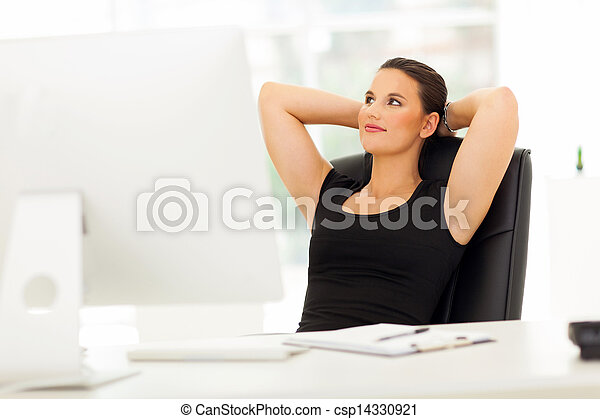 cute businesswoman daydreaming in office - csp14330921
