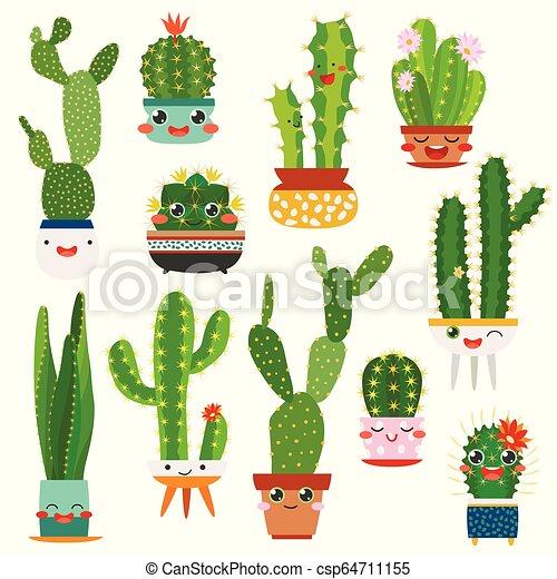 Cute Cactus Pots Happy Face Cartoon Succulent Cacti Funny Flower