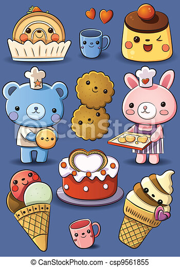 Cute Cakes And Ice Cream Cartoon Illustration Of Cute Cakes And Ice