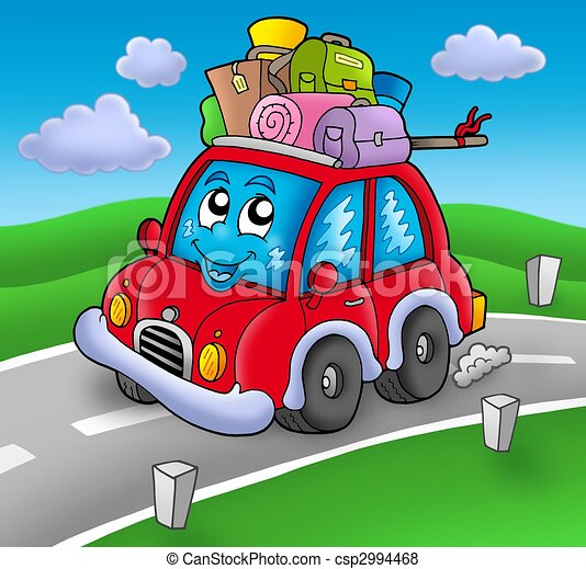 Cute car with baggage on road - csp2994468
