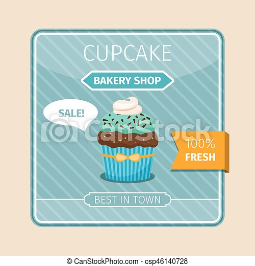 Cute card blue cupcake with chocolate - csp46140728
