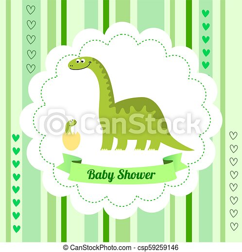 Cute Card Template Of A Baby Shower Invitation With A Dinosaur