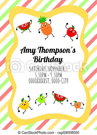 Cute Card Template Of A Birthday Invitation