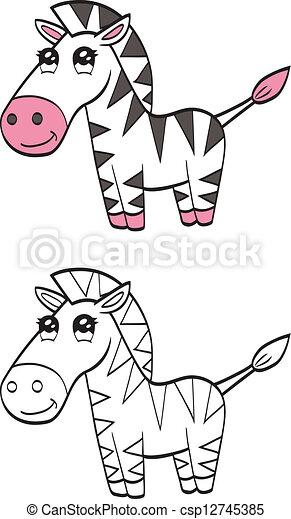 cute, caricatura, zebra - csp12745385
