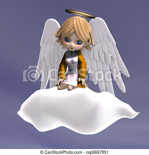 cute cartoon angel with wings and halo. 3D rendering - csp5697851