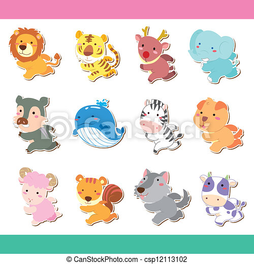 Cute cartoon animal icon set vector vector clipart search cute cartoon animal icon set vector voltagebd Gallery