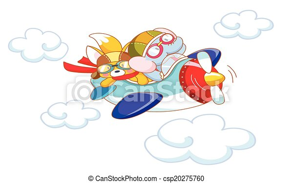 cute cartoon animals on a plane - csp20275760