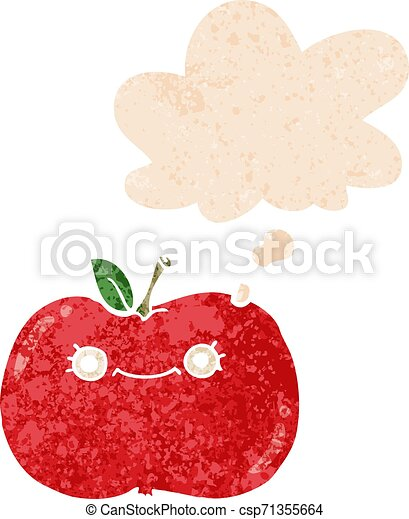 cute cartoon apple and thought bubble in retro textured style - csp71355664
