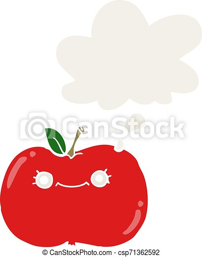 cute cartoon apple and thought bubble in retro style - csp71362592