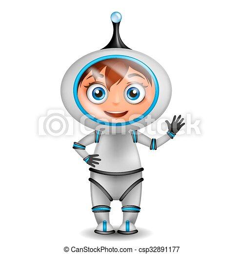 Cute cartoon astronaut standing isolated - csp32891177