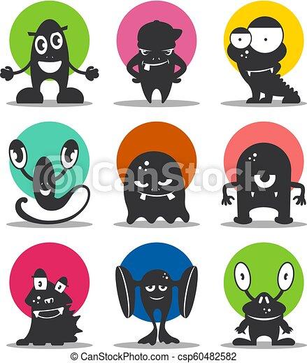 Cute cartoon avatars and icons  Black monsters set
