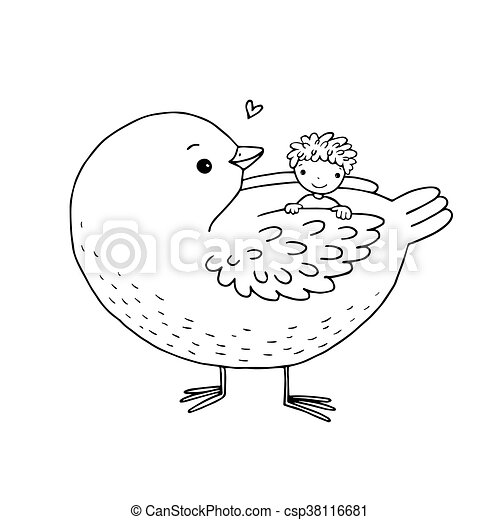 Cute cartoon baby and big bird. - csp38116681