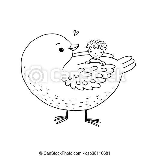 Cute cartoon baby and big bird. - csp38116681