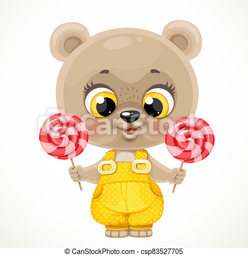 Cute cartoon baby bear with candies in hands isolated on a white background - csp83527705