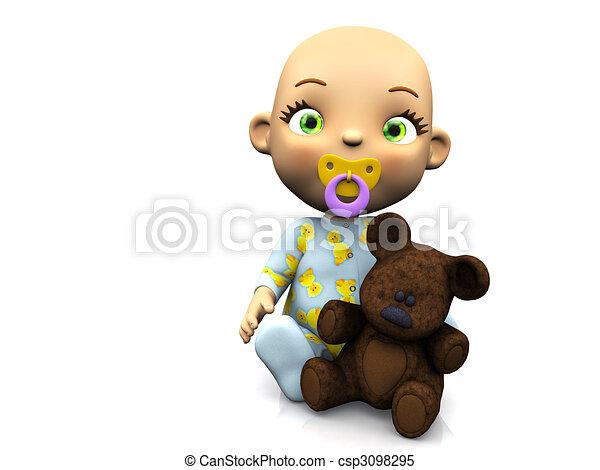 Cute cartoon baby holding a teddy bear. - csp3098295