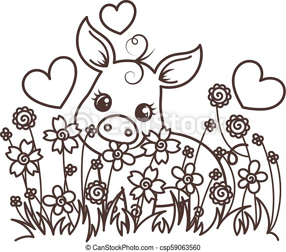 Coloring Page For Kids With Little Pig. Stock Vector ... | 400x450
