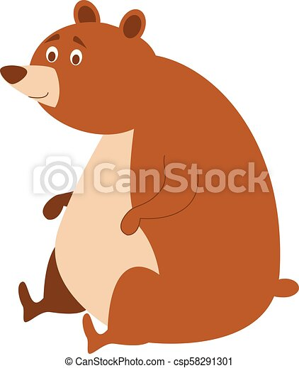 Cute cartoon bear vector illustration - csp58291301