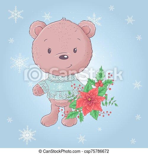 Cute cartoon bear with a bouquet of poinsettia. Vector illustration - csp75786672
