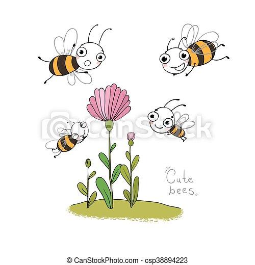Cute cartoon bees. - csp38894223
