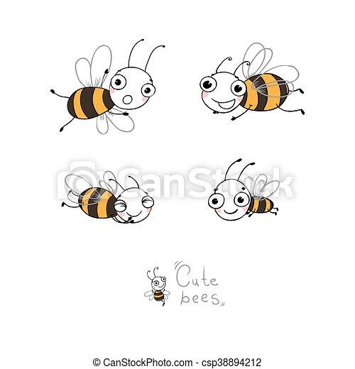 Cute cartoon bees. - csp38894212