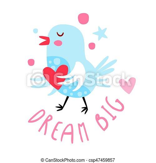 Cute Cartoon Bird With Heart Dream Big Colorful Hand Drawn Vector Illustration