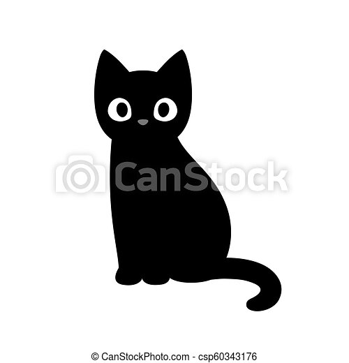 Black Cat Cute Drawing