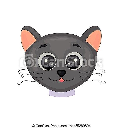 Cute Cartoon Black Cat Isolated Image On White Background