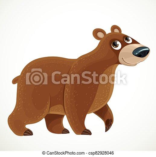 Cute cartoon Brown bear on a white background - csp82928046